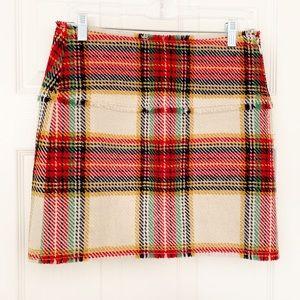 J Crew | Plaid Tartan 100% Wool Fringe Mini Skirt